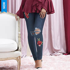 Destructed Floral Patch Skinny Jeans