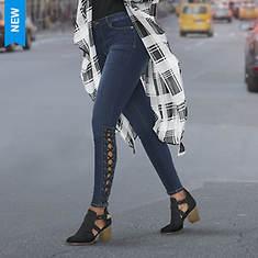 Side Lace-Up Skinny Jean