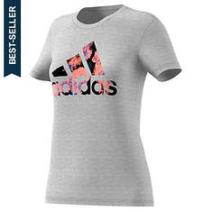adidas Women's Floral Badge of Sport Tee