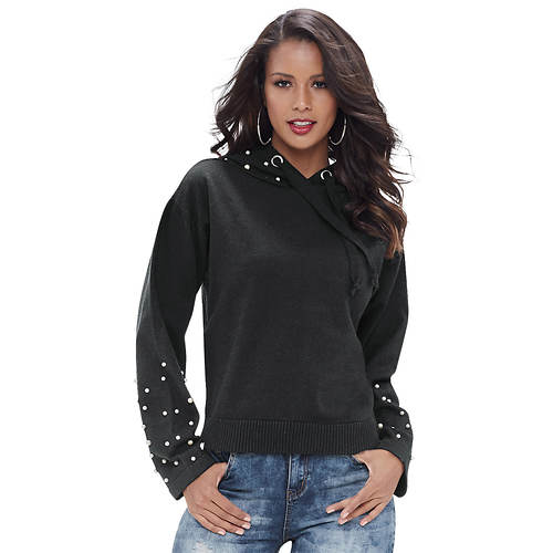 Faux Pearl Hooded Sweater