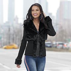 Faux Fur-Trim Zip-Front Sweater