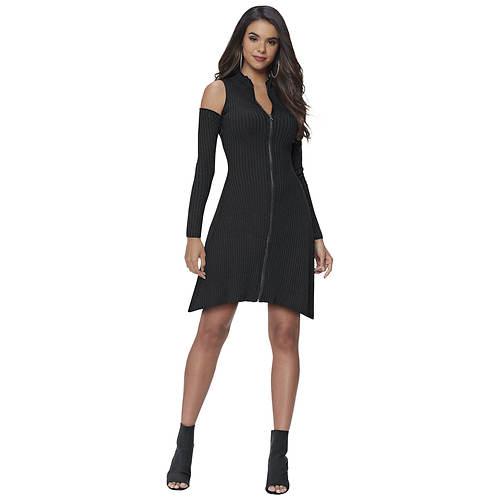 Zip-Front Sweater Dress