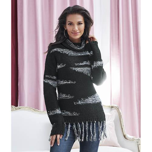 Printed Fringe Sweater