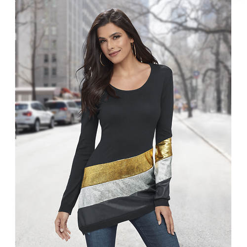 79b92f2eb22c9 Asymmetric Metallic Stripe Sweater