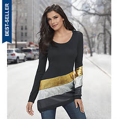 Asymmetric Metallic Stripe Sweater