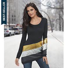 Asymmetric Metallic Stripe Sweater