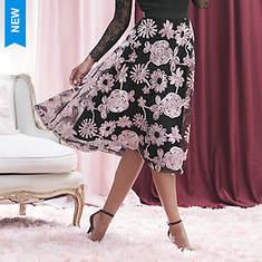 Floral Mesh Overlay Skirt