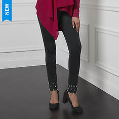 Faux Pearl-Embellished Legging