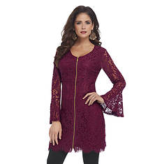 Lavish Lace Zip-Up Tunic