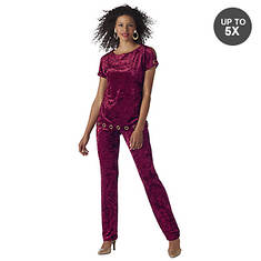 Crushed Velvet Pant Set