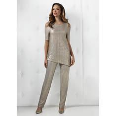 Cold Shoulder Asymmetric Pant Set