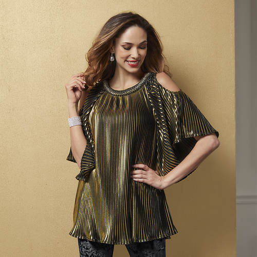 Metallic Pleated Blouse