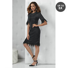 Faux Feather-Trim Dress Set