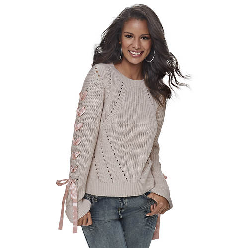 Pointelle Lace-Up Sleeve Sweater