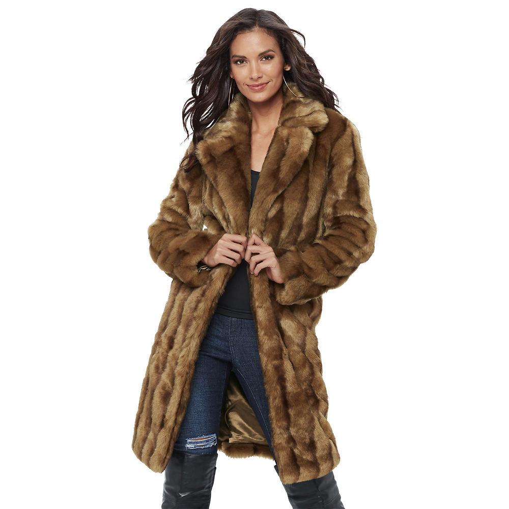 1950s Jackets, Coats, Bolero | Swing, Pin Up, Rockabilly Vintage Faux Fur Coat Brown Coats 1X $139.95 AT vintagedancer.com