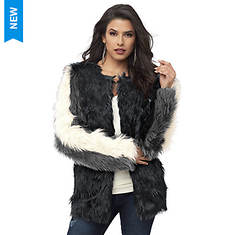 Colorblock Faux Fur Coat