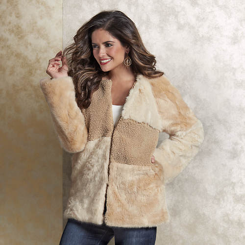 Patchwork Faux Fur & Faux Sherpa Coat