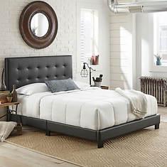 Jupiter Full Tufted Faux Leather Platform Bed