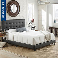 Jupiter Queen Tufted Faux Leather Platform Bed