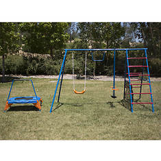 Fitness Reality Swing Set with Trampoline and Ladder Climber