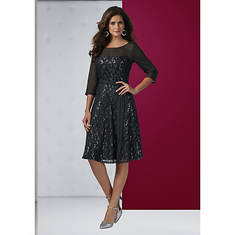 Fit-And-Flare Sheer Sleeve Dress