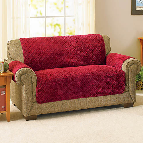 Embossed Reversible Sherpa Furniture Cover-Loveseat