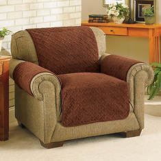 Embossed  Reversible Sherpa Furniture Cover-Recliner