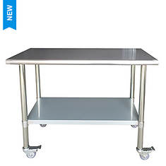 Sportsman Series Stainless Steel Work Table with Casters 24
