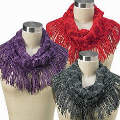 Set of 3 Fringe Knit Infinity Scarves