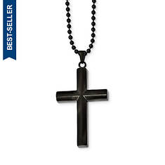 Stainless Steel Brushed/Polished Blk IP-Plated Cross Necklace
