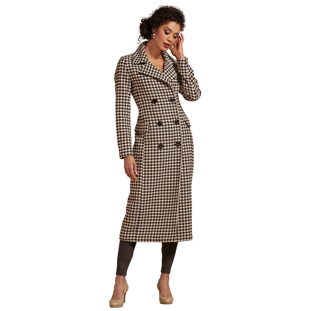 1940s Coats & Jackets Fashion History Patterned Long Coat Brown Coats 1X $139.95 AT vintagedancer.com