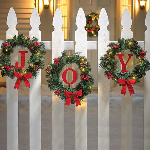 3-Pc. Joy Indoor/Outdoor Wreath Set