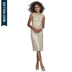Pleated Dress With Rhinestone Collar