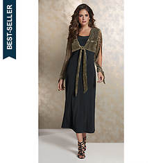 Metallic Pleated Dress & Jacket Set