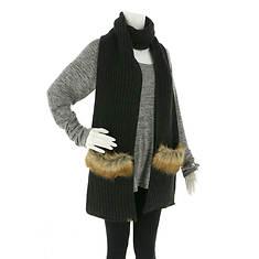 BEARPAW Women's Chunky Knit Fur Trim Pocket Scarf
