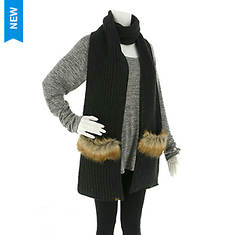 BEARPAW Women's Chunky Knit Fur Trim Pocket Scarf