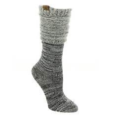 BEARPAW Women's Feather Scrunch Knee High Socks