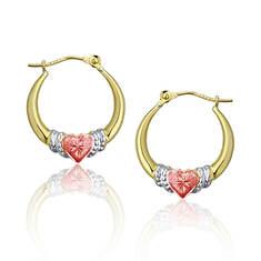 14K Diamond-Cut Graduated Heart Hoop Earrings