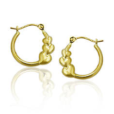 14K Graduated Triple Heart Hoop Earrings