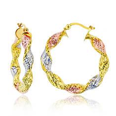 14K Twisted Diamond-Cut 5x40mm Hoop Earrings