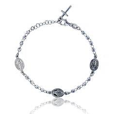 Sterling Silver Virgin Mary Diamond-Cut Rosary Bracelet