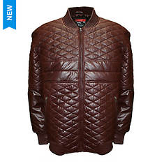 Franchise Club Men's Diamond Leather Bomber Jacket
