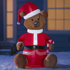 5' Furry Santa Teddy Inflatable