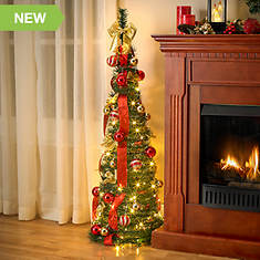 Set of 2 4' Lighted Decorated Pop Up Trees
