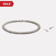 Tennis Bracelet and Earring Set-Cubic Zirconia