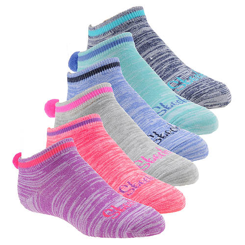Skechers Girls' S110438 6 Pack Non Terry Low Cut Socks