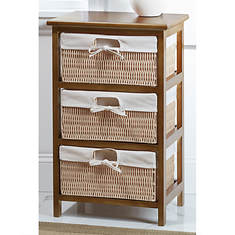 3-Basket Wood & Wicker Storage Unit