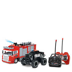 World Tech Fire Truck And Police Truck R/C Car 2-Pack