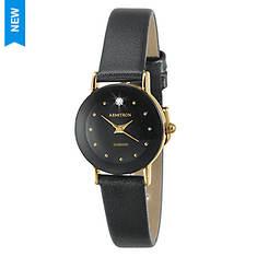 Armitron Women's Black Leather Strap Watch