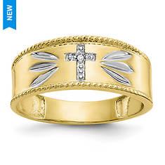 Men's 10K Gold Two-Tone Cross/Diamond Accent Ring